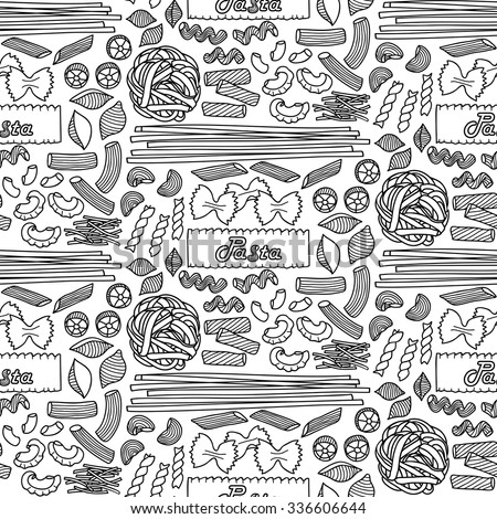 Seamless pattern with different types of pasta. Vector illustration of hand drawn pasta elements for menu, backgrounds, wrapping, posters, textile prints