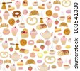 seamless pattern with different types of pastries - stock vector