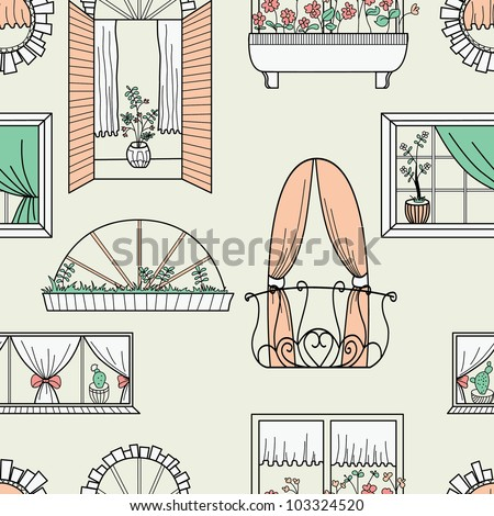 Seamless pattern with different windows. - stock vector