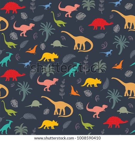 Seamless pattern with dinosaur silhouettes. Vector illustration
