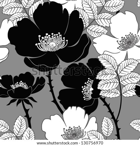seamless pattern with dog-roses - stock vector