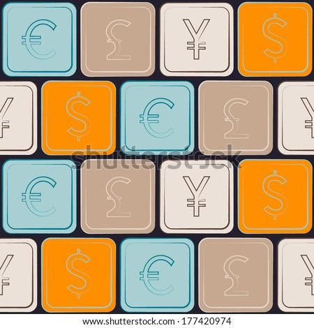 seamless pattern with Dollar Euro Pound Yen Rouble signs  - stock vector