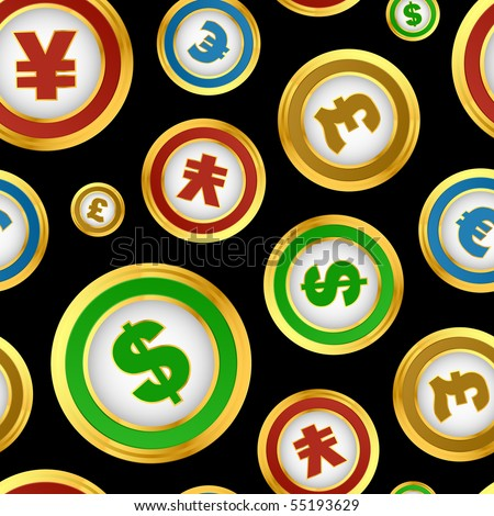 Seamless pattern with dollar, euro, yen and pound signs. - stock vector