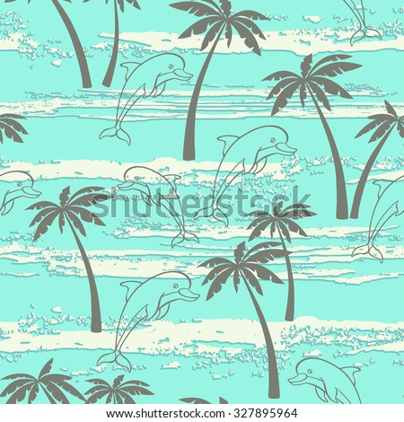 Seamless pattern with dolphins and palm trees. Summer background - stock vector