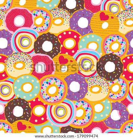 Seamless pattern with donats. - stock vector