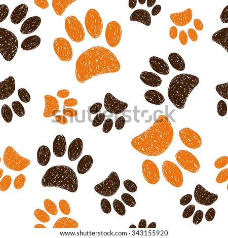 Seamless pattern with doodle animal footprints. Hand drawn cats paws on white background.  - stock vector