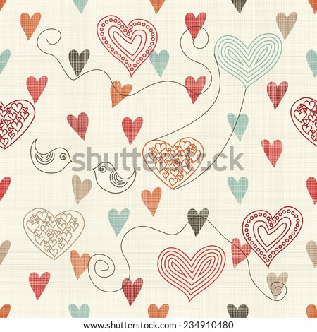 seamless pattern with doodle colorful hearts on texture background - stock vector