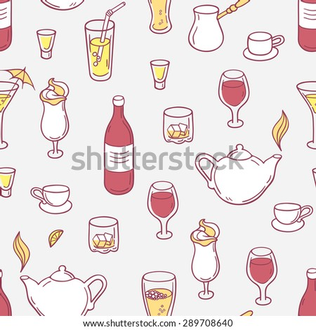 Seamless pattern with doodle drinks in vector. Hand drawn background with beverages for design. Vector illustration