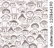 seamless pattern with doodle faces - stock vector