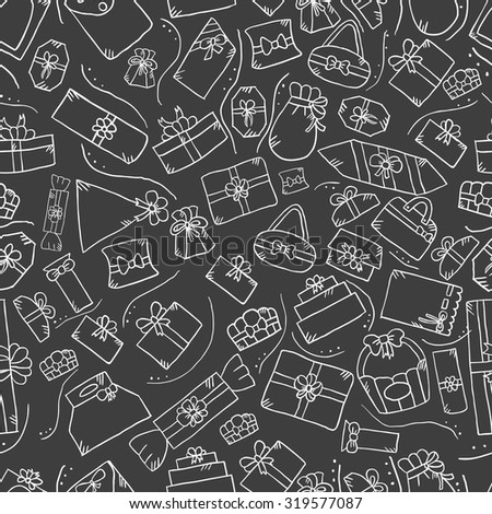 Seamless pattern with doodle gift box on red background. Cute vector illustration