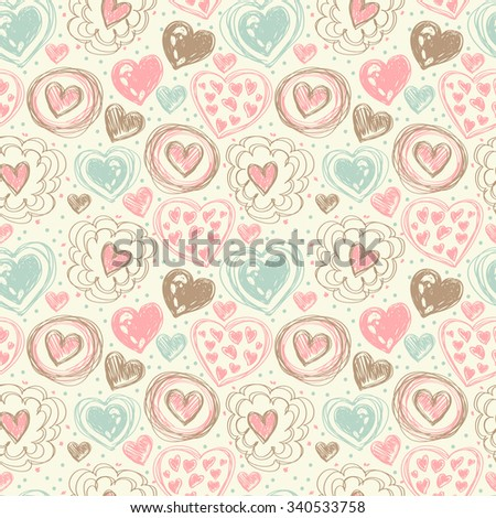seamless pattern with doodle heart icons for valentines day, vector illustration - stock vector