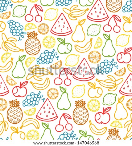 Seamless pattern with doodle juicy fruits - stock vector