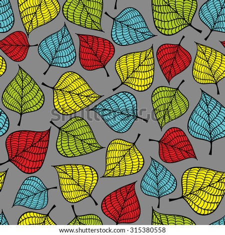 Seamless pattern with doodle leaves. Vector repeated background. - stock vector