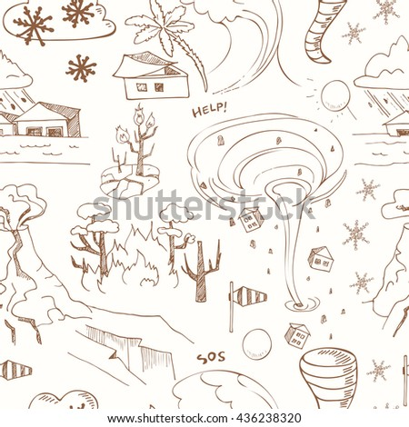 seamless pattern with doodle sketch Natural disasters.  vector illustration - stock vector