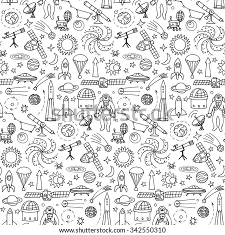 Seamless pattern with doodle space elements. Vector illustration with hand drawn doodle space elements for wallpaper, wrapping, textile prints - stock vector