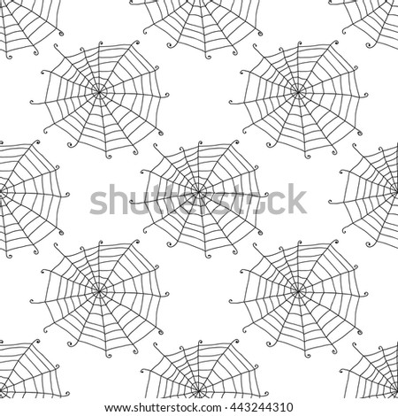 Seamless pattern with doodle spiderwebs. Vector