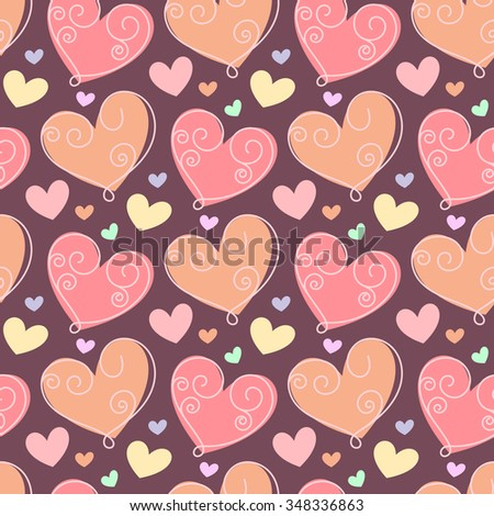 Seamless pattern with doodle stylized hearts. Hand drawn vector illustration