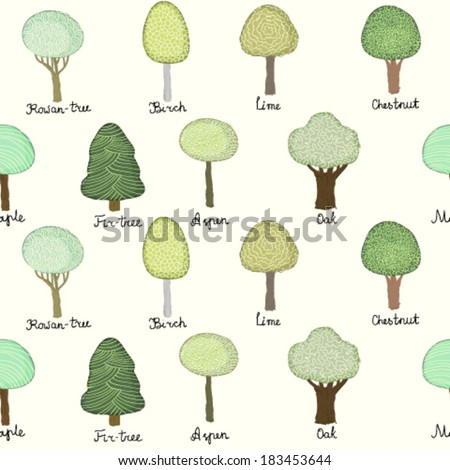 Seamless pattern with doodle trees - stock vector