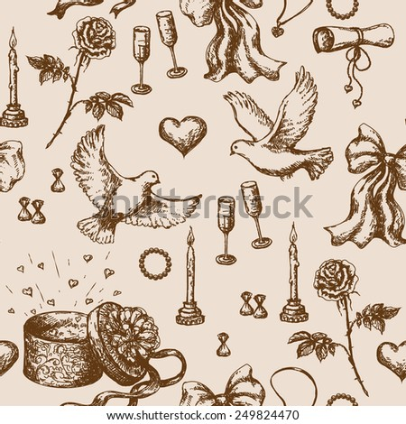 Seamless pattern with doodles of  flying pigeons, candles, roses, ribbons, letter and presents.  - stock vector
