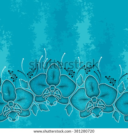 Seamless pattern with dotted moth Orchid or Phalaenopsis and leaves on the turquoise textured background. Floral background in dotwork style.