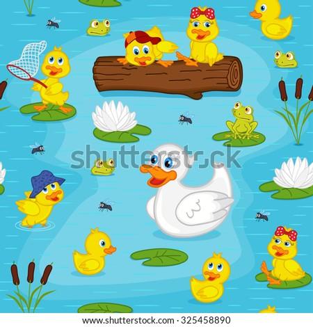 seamless pattern with ducks on lake - vector illustration, eps - stock vector