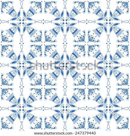 Seamless pattern with Dutch ornaments (Deflt blue style). EPS 10. - stock vector