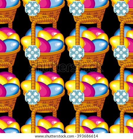Seamless pattern with Easter basket and Easter eggs