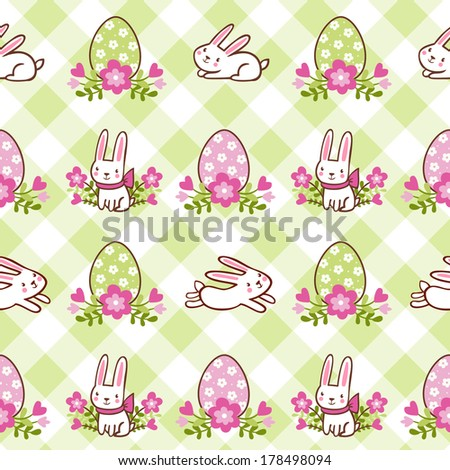 Seamless pattern with Easter bunnies and eggs. Green background. - stock vector
