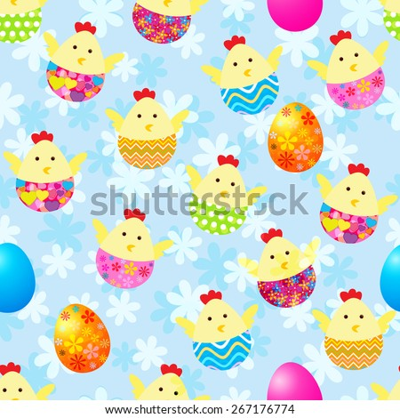 Seamless pattern with Easter chickens and eggs  - stock vector