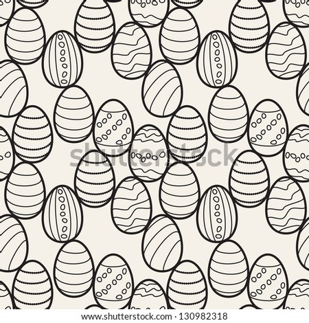 Seamless pattern with easter eggs. Graphic holiday print - stock vector
