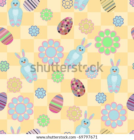Seamless pattern with Easter motives - stock vector