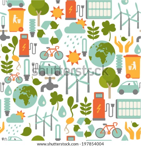 seamless pattern with ecology icons - stock vector