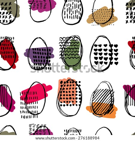 Seamless pattern with eggs. Happy easter. Abstract ellipse pattern. - stock vector