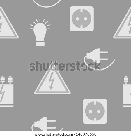 Seamless pattern with electricity icons - stock vector