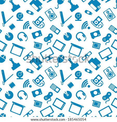 seamless pattern with electronics, blue icons of computer technology on a white background - stock vector
