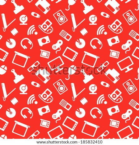 seamless pattern with electronics, white icons of computer technology on a red background - stock vector