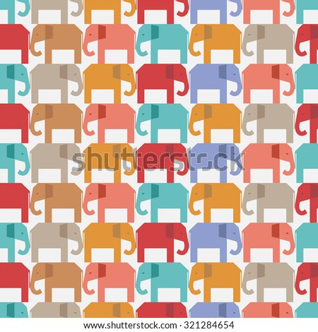 Seamless pattern with elephants. Wallpaper background in vector - stock vector