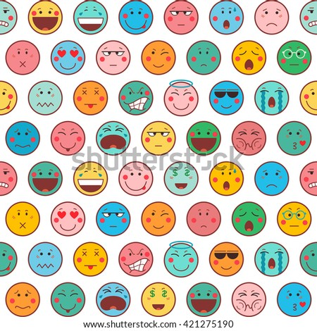 Seamless pattern with emoticons on white background. Emoji background. Icons design in flat style. Vector illustration. - stock vector