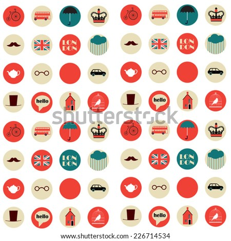 seamless pattern with english emblems on white background - stock vector