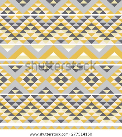 seamless pattern with ethnic aztec ornament - stock vector