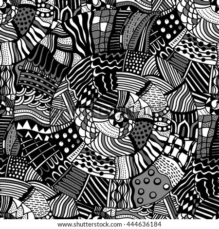 Seamless pattern with ethnic elements. Ornate zentangle texture, endless pattern with aethnic elements. Pattern can be used for wallpaper, pattern fills, web page background, surface textures.