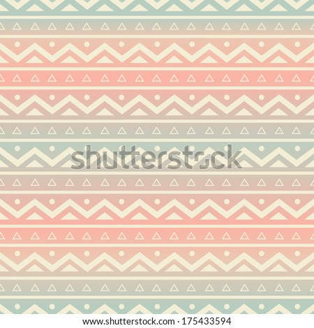 Seamless pattern with ethnic motifs in pastel colors. - stock vector