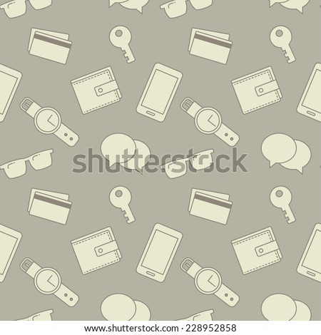 Seamless pattern with everyday objects: sunglasses, key, phone, wallet, credit cards, watches and speech bubbles. - stock vector