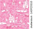 seamless pattern with fairytale land - castles, lakes, roads,  mills,carriages and horses - Pink princess background - stock photo