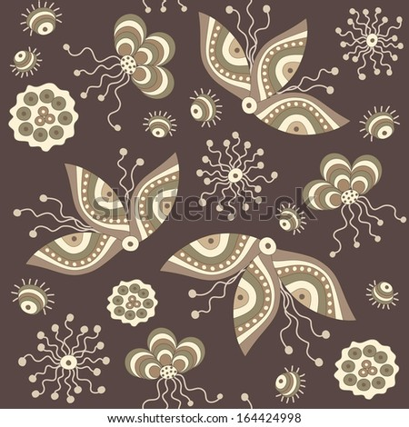 Seamless pattern with fancy flowers and leaves. Fantasy.