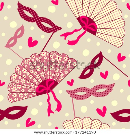 Seamless pattern with fans and masks. - stock vector