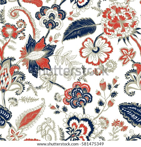 Seamless Pattern With Fantasy Flowers Natural Wallpaper Floral Decoration Curl Illustration Paisley Print