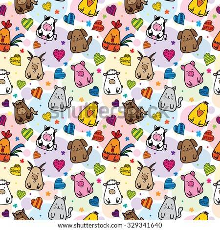 seamless pattern with farm animals - stock vector