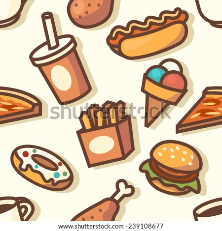 Seamless pattern with fast food icons. Vector illustration.