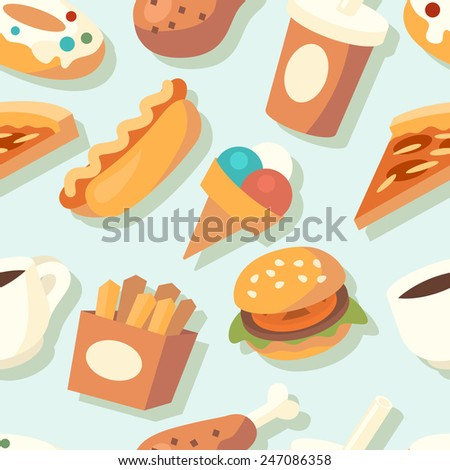 Seamless pattern with fast food icons. Vector illustration. - stock vector
